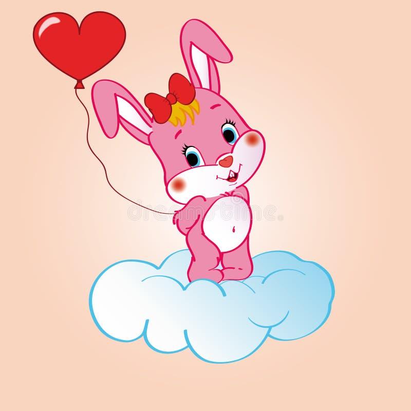 Coelho cor-de-rosa na nuvem ilustração stock