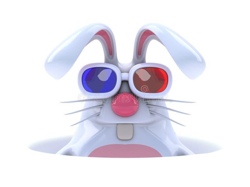 coelho 3d branco em um furo ilustração royalty free