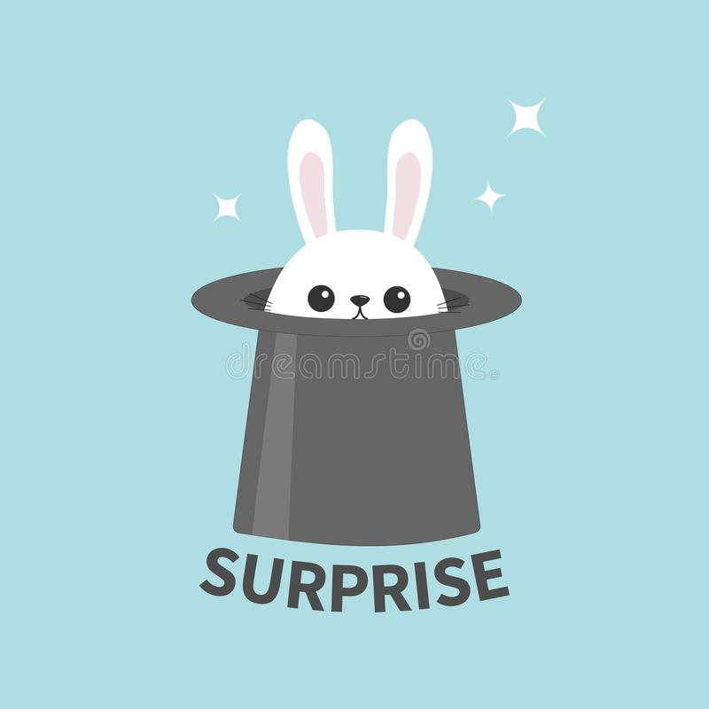 Coelho de coelho branco no chapéu mágico Estrelas de Sining Ícone principal engraçado da cara surpresa Orelhas grandes Personagem ilustração stock