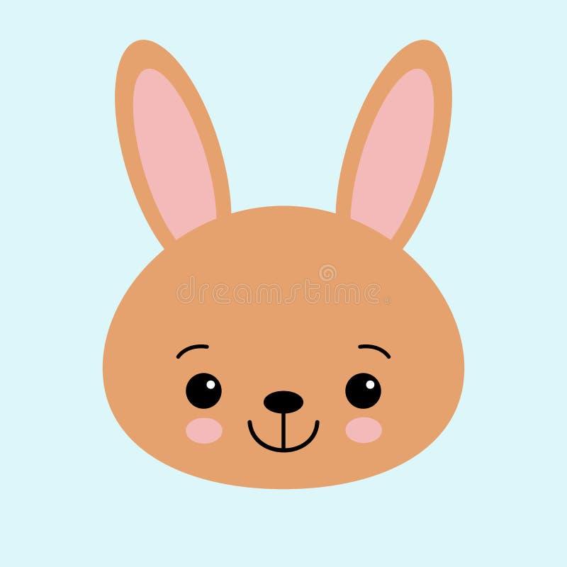 Coelho de coelho de Brown Cara principal engra?ada Orelhas grandes Personagem de banda desenhada bonito do kawaii Molde do cart?o ilustração do vetor