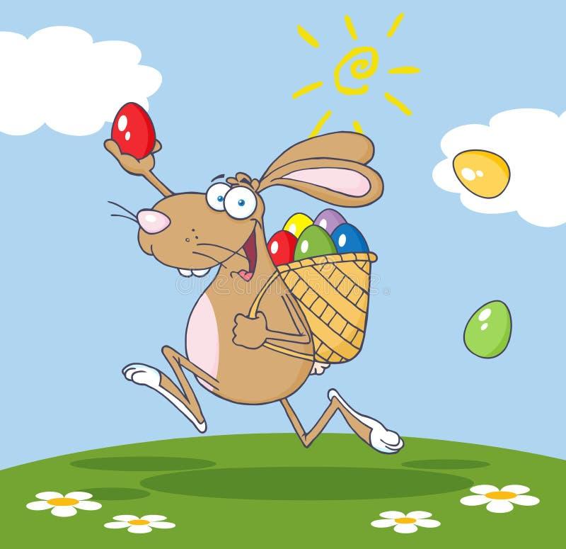 Coelho de Brown que participa em uma caça do ovo de easter ilustração do vetor