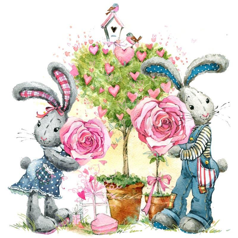 Coelho de coelho bonito Cartão do dia dos Valentim ilustração do vetor