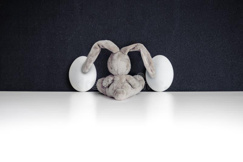 Coelho de coelho entre ovos da páscoa no blackgboard imagens de stock royalty free