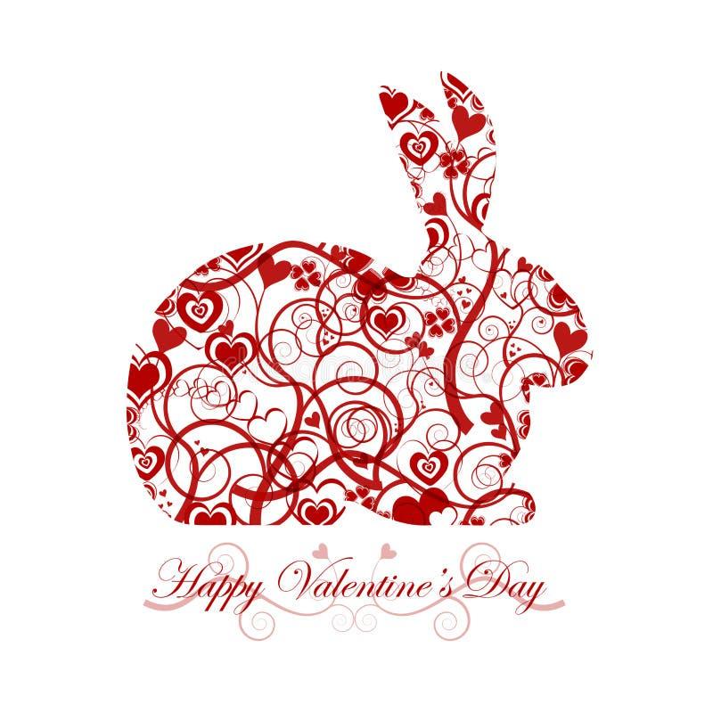 Coelho de coelho vermelho do dia feliz dos Valentim ilustração do vetor