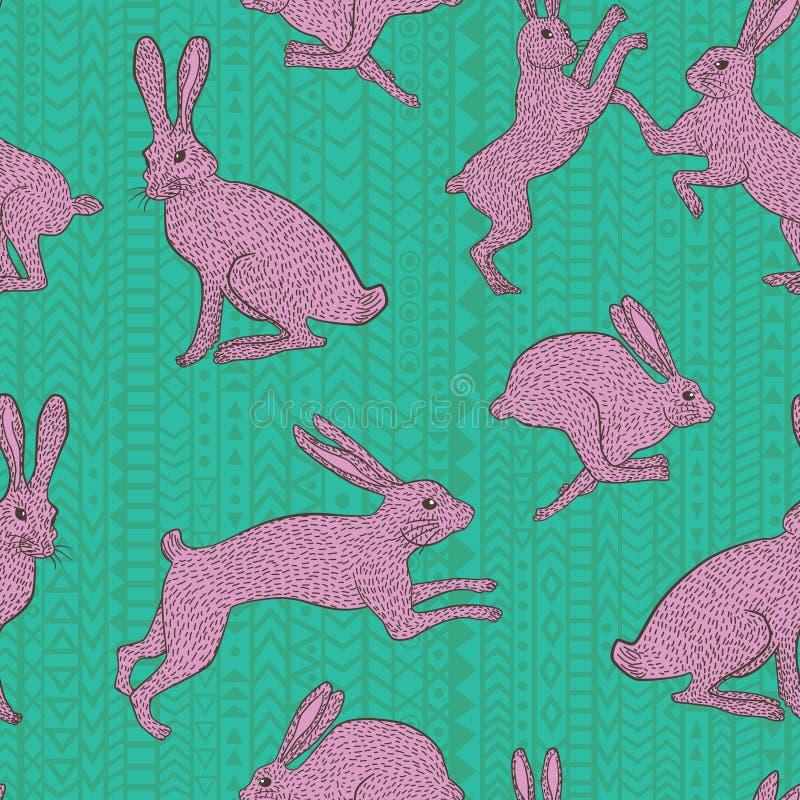 Coelho de coelho cor-de-rosa no teste padrão geométrico verde-azul da repetição do fundo imagens de stock royalty free