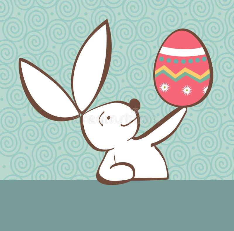 Coelho de Easter com ovo pintado ilustração stock