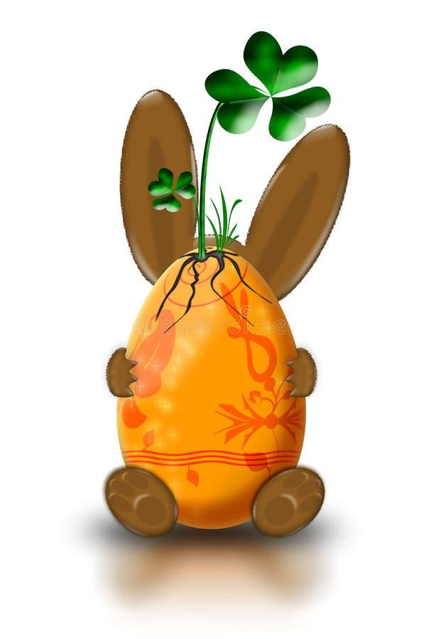 Coelho de Easter com uma planta ilustração stock