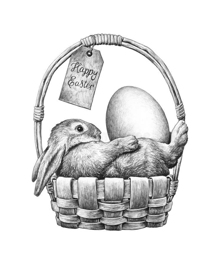 Coelho de Easter em uma cesta ilustração do vetor