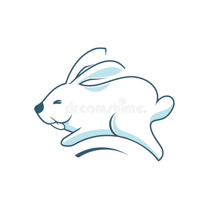 Coelho de salto Bunny Cony Hare Happy Funny bonito ilustração stock