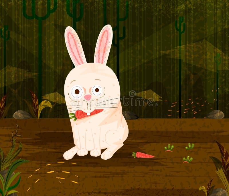 Coelho do animal de animal de estimação que come a cenoura no fundo da floresta da selva ilustração do vetor