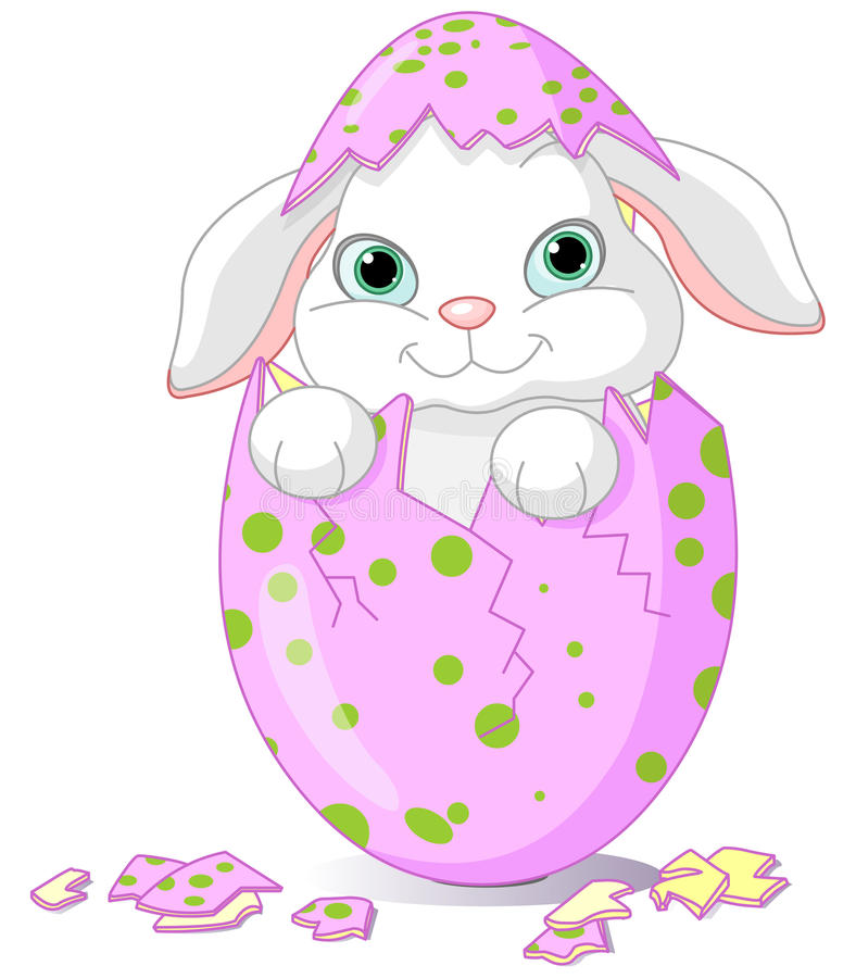 Coelho do bebê de Easter chocado de um ovo ilustração royalty free