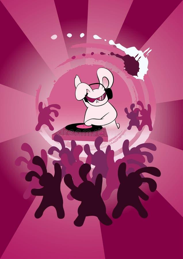 Coelho do DJ no clube de noite ilustração stock
