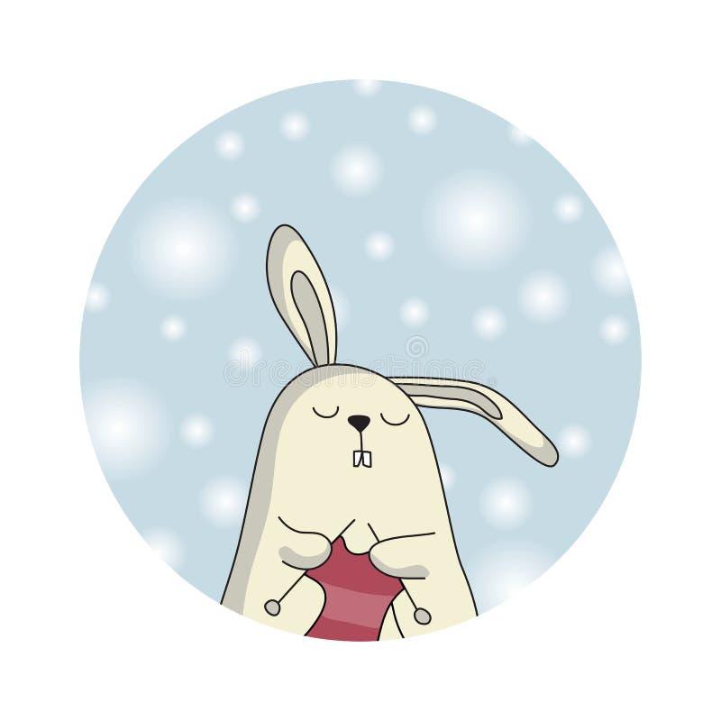 Coelho do inverno Cartão de Chrismas foto de stock