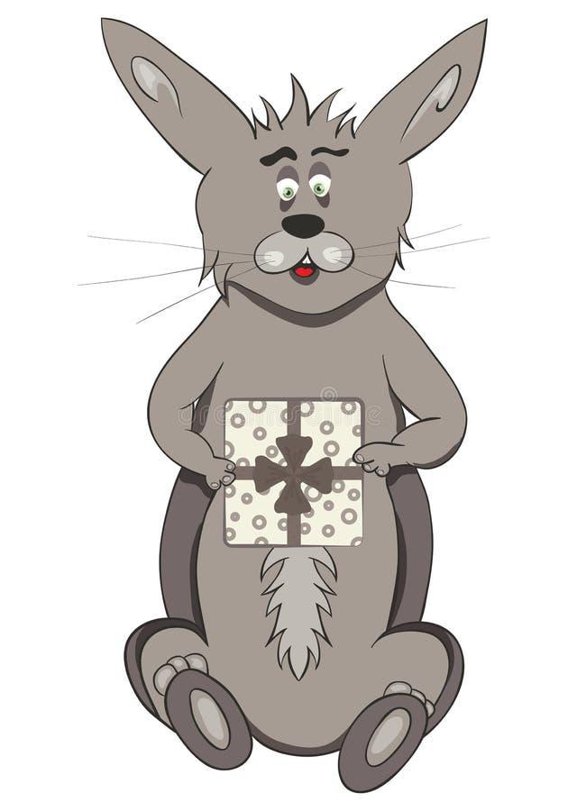 Coelho dos desenhos animados com caixa de presente fotografia de stock