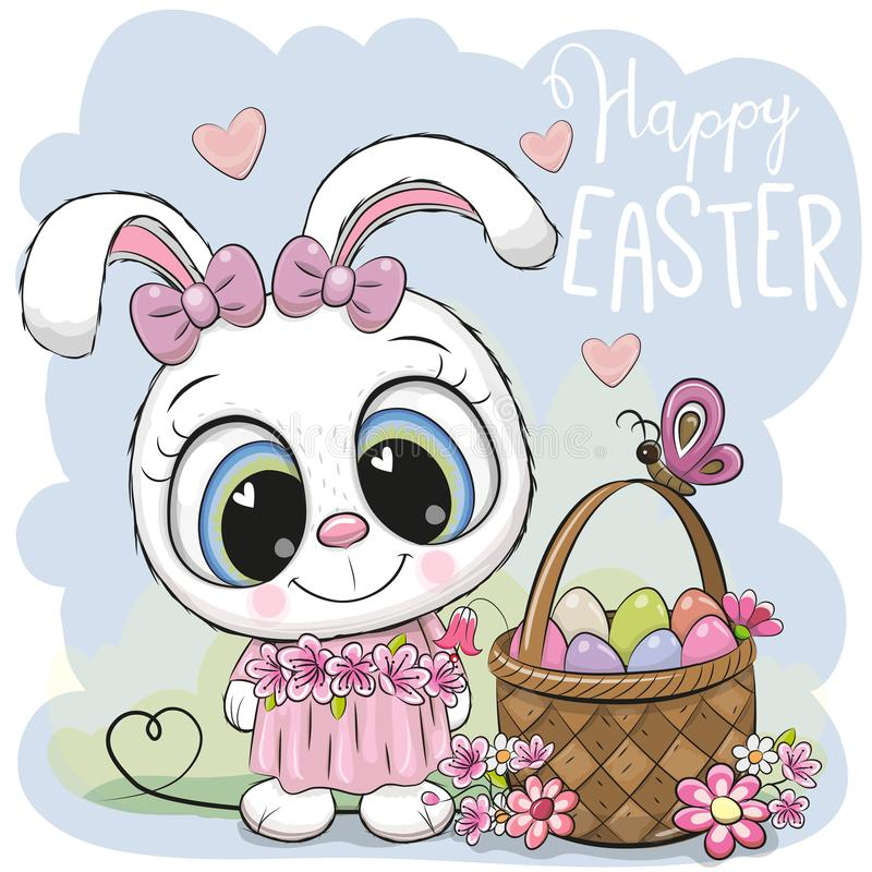 Coelho dos desenhos animados com uma cesta dos ovos da páscoa ilustração royalty free