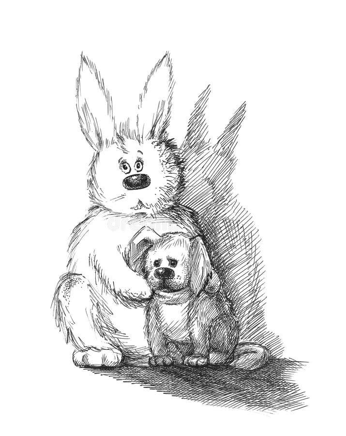 Coelho e cão ilustração do vetor