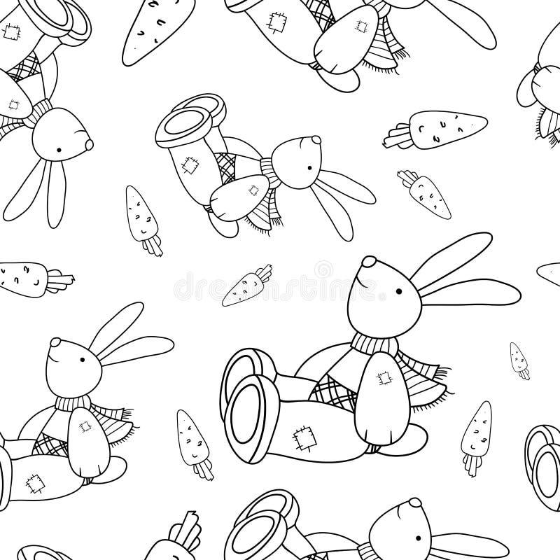 Coelho e cenoura de tiragem lineares ilustração stock