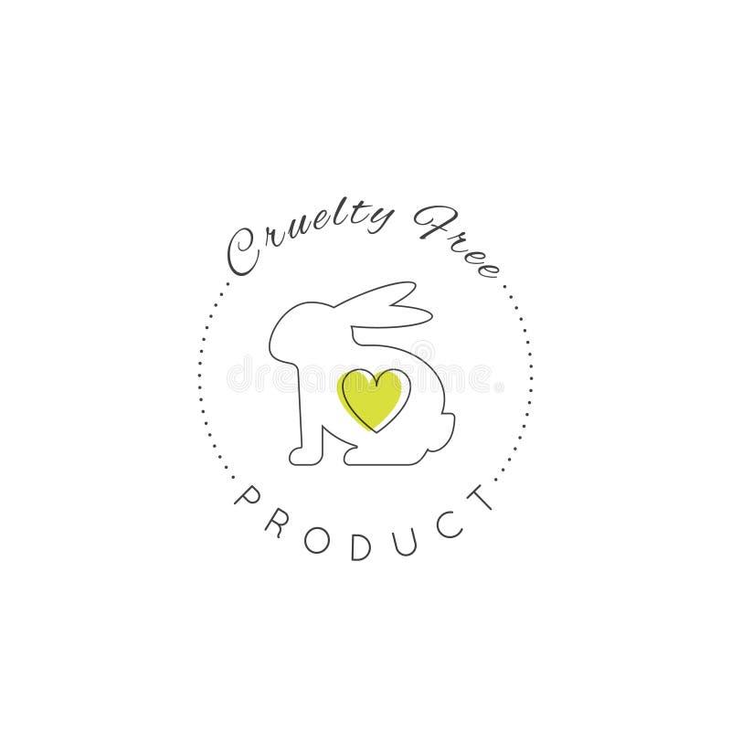 Coelho e coração, não testados em animais, etiqueta do produto do laboratório da crueldade livre ilustração royalty free