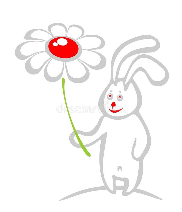 Coelho e flor ilustração stock