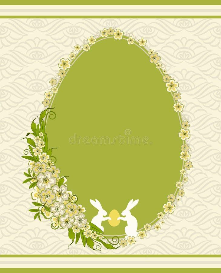 Coelho e flores ilustração stock