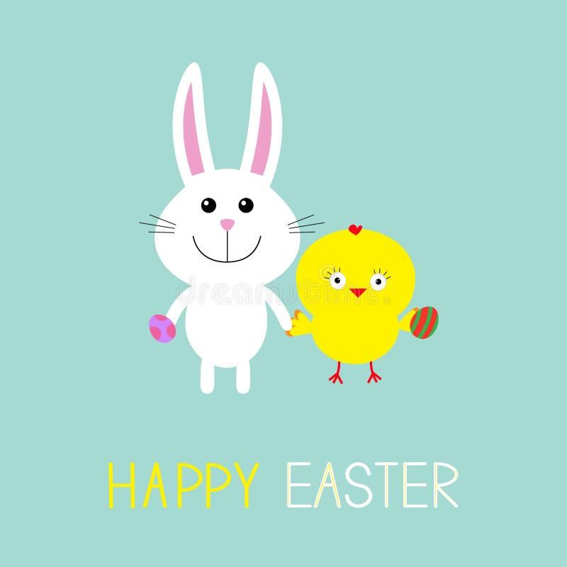 Coelho e galinha de coelho bonito que guardam ovos Easter feliz Frame redondo Projeto liso ilustração royalty free