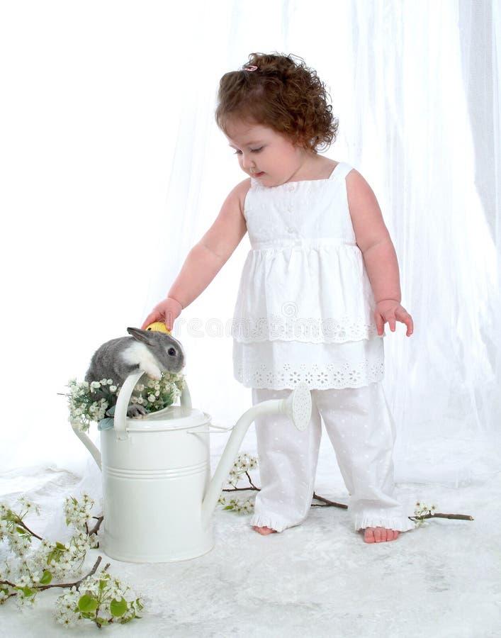 Coelho e menina da lata molhando imagem de stock royalty free
