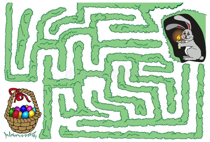 Coelho e ovos da páscoa do labirinto ilustração do vetor