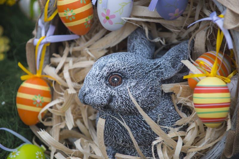 Coelho e ovos da p?scoa no ninho, mola fotografia de stock