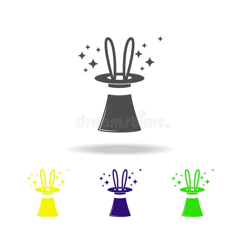 coelho em um ícone colorido do chapéu Elemento do ícone mágico popular Os sinais e o ícone dos símbolos podem ser usados para a W ilustração royalty free