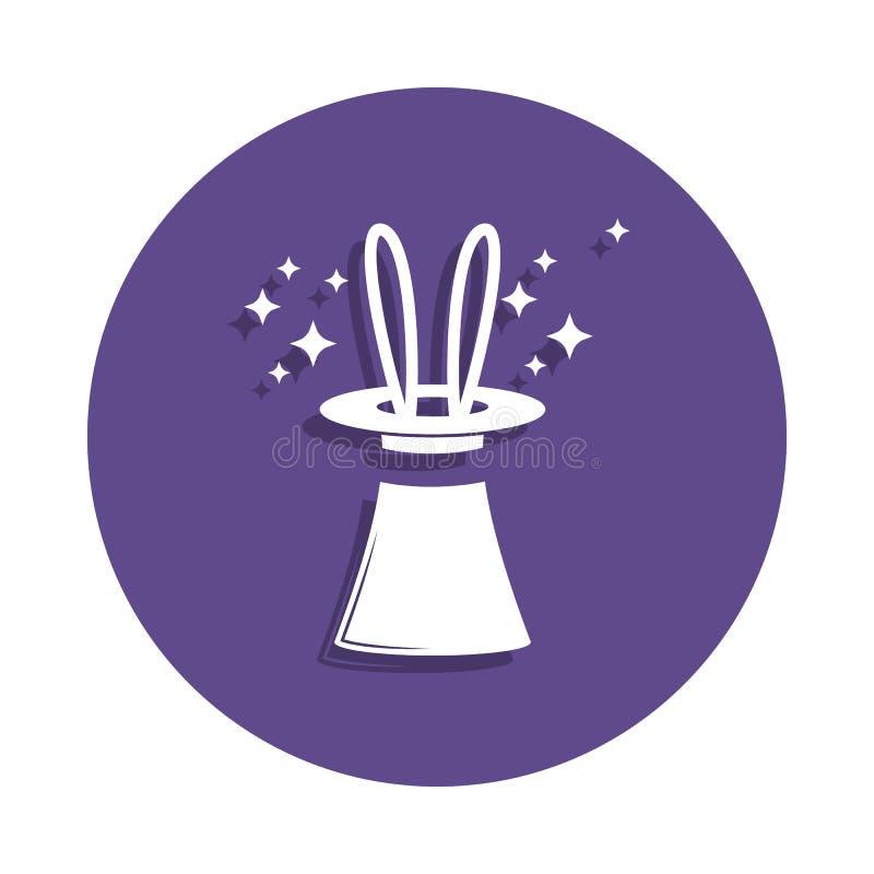 coelho em um ícone do chapéu no estilo do crachá Um do ícone mágico da coleção pode ser usado para UI, UX ilustração royalty free