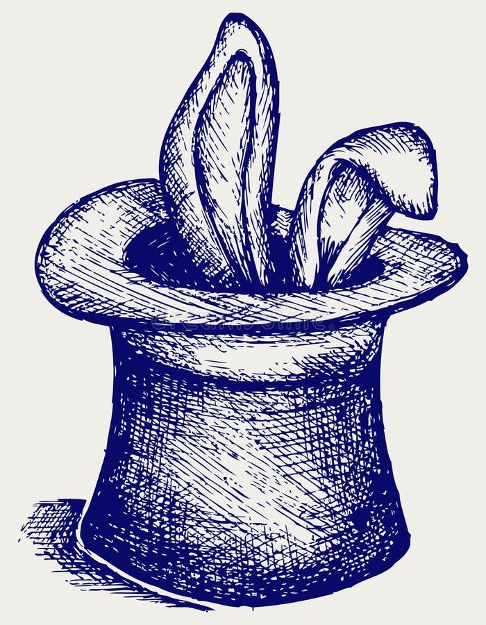 Coelho em um chapéu do mágico ilustração do vetor