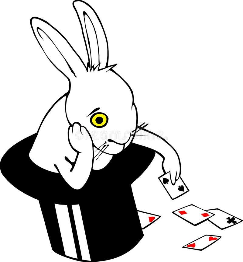 Coelho furado no chapéu mágico ilustração stock