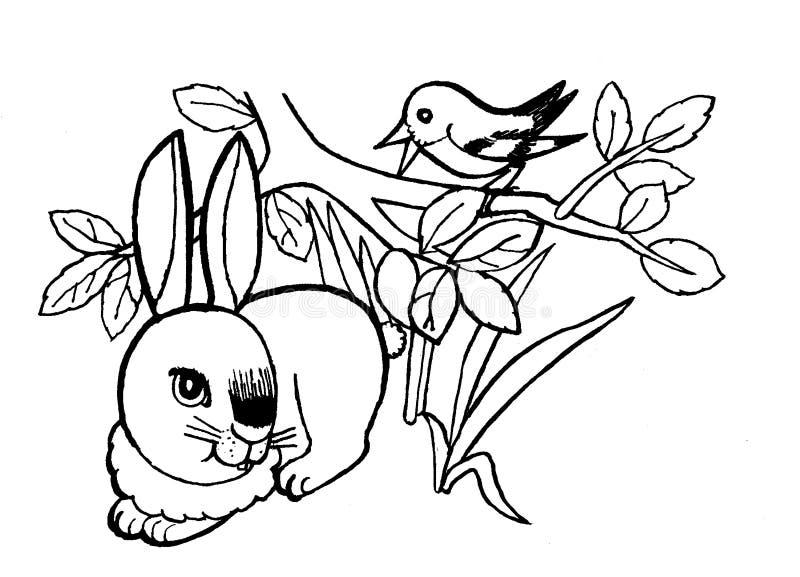 Coelho, ilustração incolor da página da coloração para as crianças foto de stock royalty free