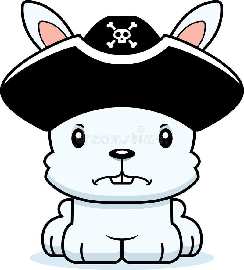 Coelho irritado do pirata dos desenhos animados ilustração stock