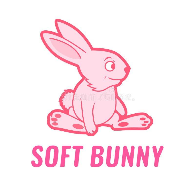 Coelho macio do brinquedo, ilustração cor-de-rosa do vetor dos desenhos animados da cor - coelho de sorriso isolado em um fundo b ilustração royalty free