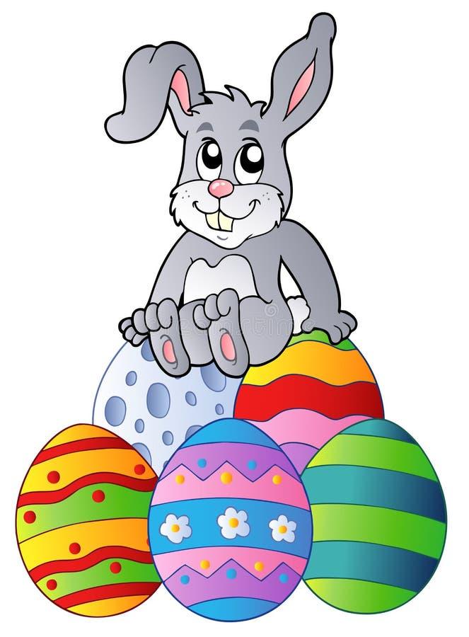 Coelho na pilha de ovos de Easter ilustração stock