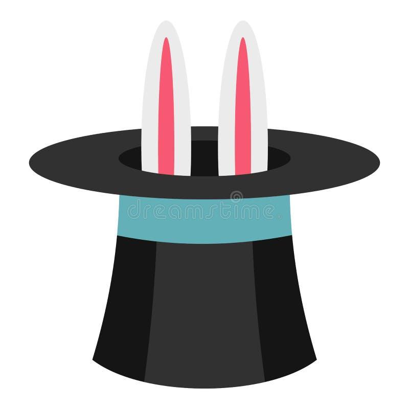 Coelho no ícone do mágico do chapéu, estilo liso ilustração stock
