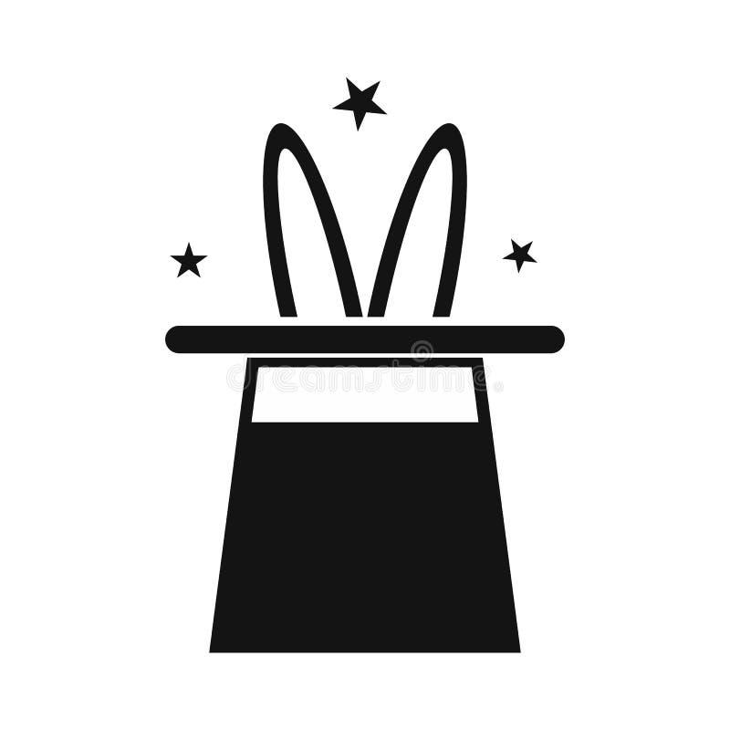 Coelho no ícone simples do chapéu do mágico ilustração do vetor