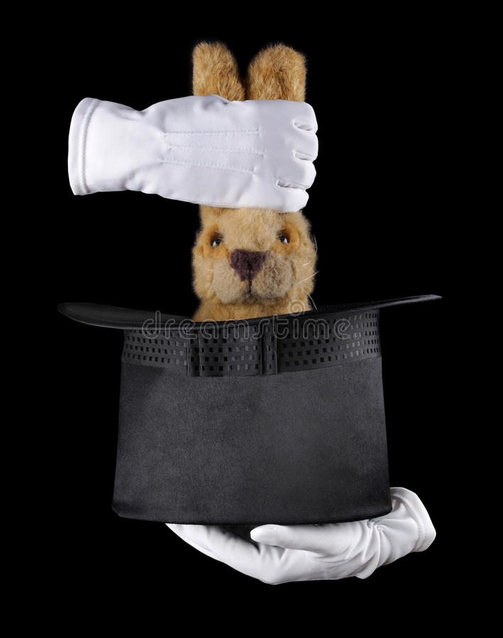 Coelho no chapéu de seda imagens de stock royalty free