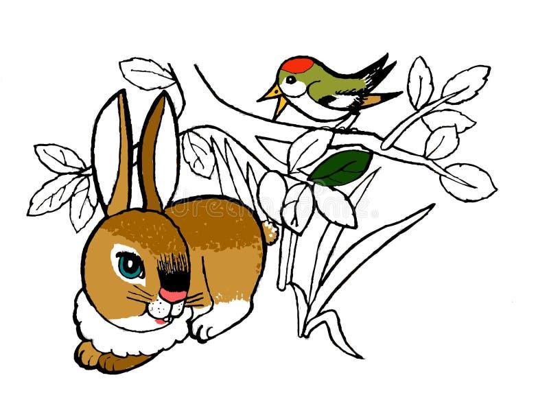 Coelho, página colorindo para as crianças Esboço tirado mão dos animais foto de stock