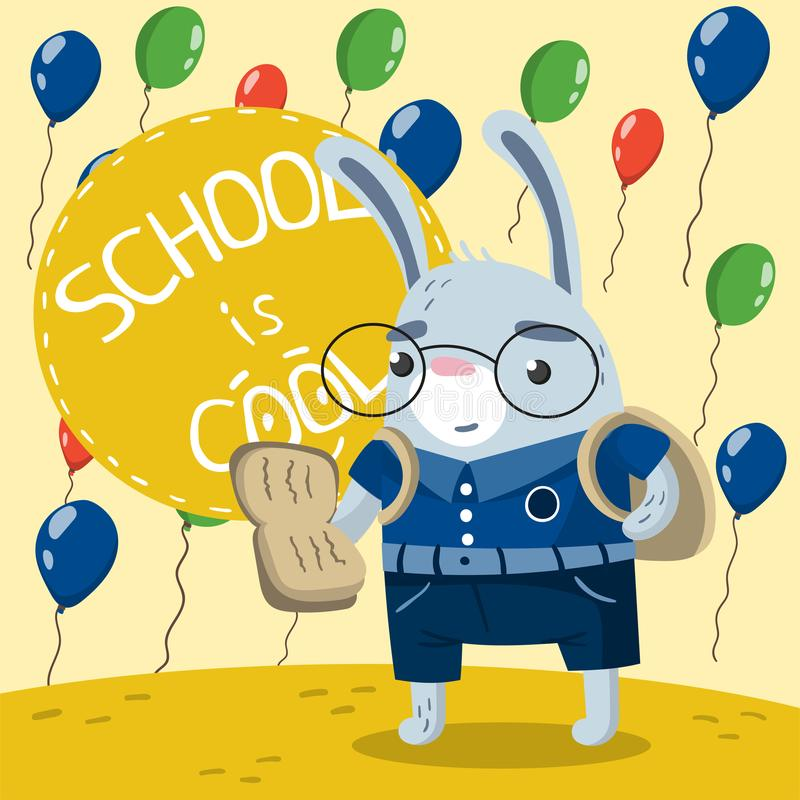 Coelho pequeno bonito na farda da escola que lê um livro no fundo com balões coloridos A escola é vetor fresco ilustração do vetor