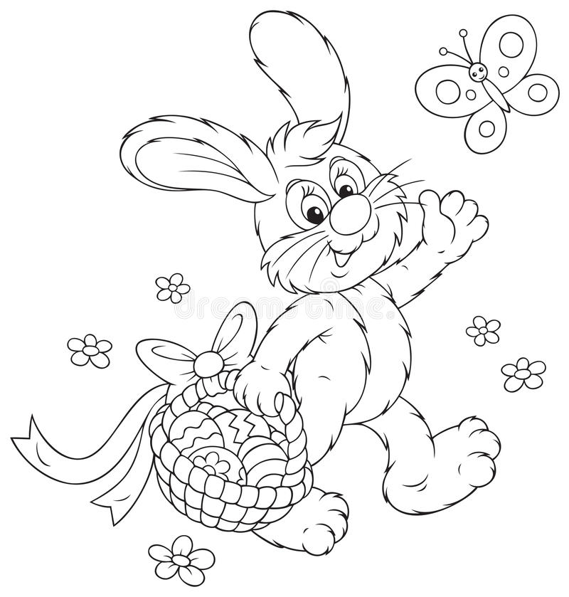 Coelhinho da Páscoa com uma cesta dos ovos ilustração stock