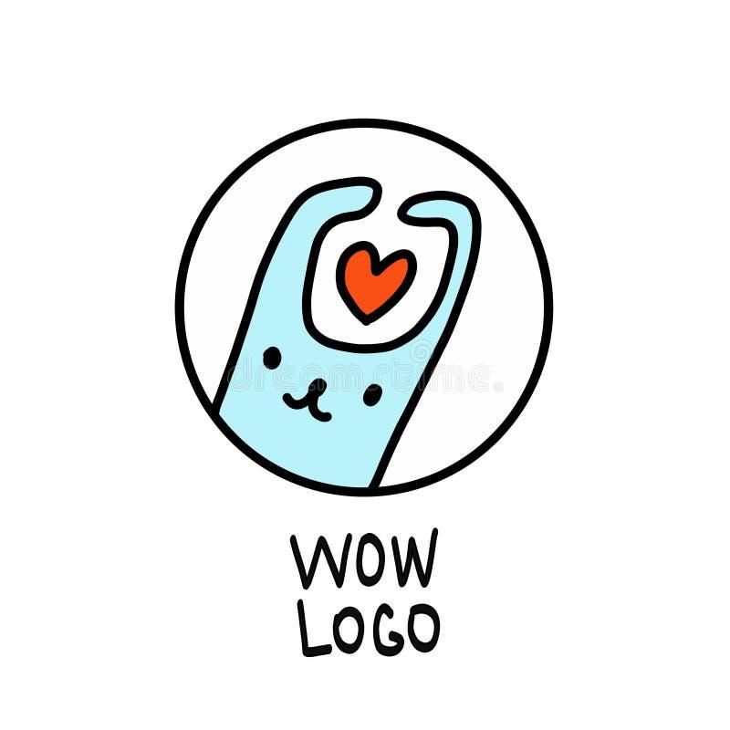 Coelho simples, minimalistic no logotipo do furo Ilustração bonito do vetor do coelho dos desenhos animados com coração ilustração stock