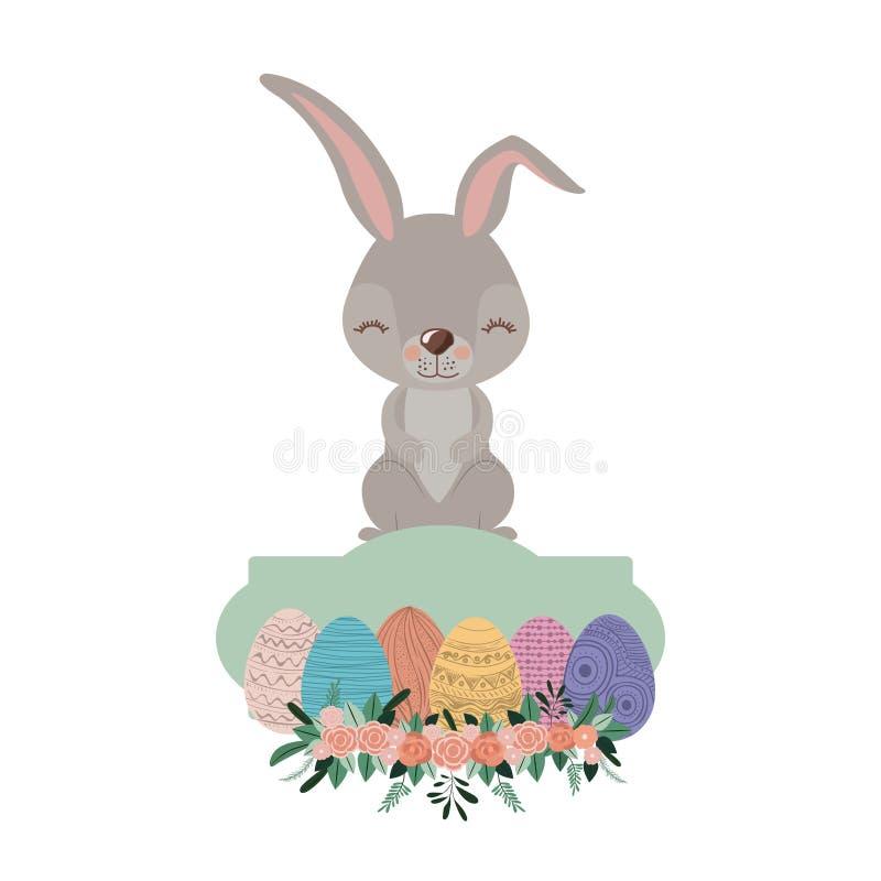 Coelho sobre o quadro com os ovos da páscoa e o ornamento florais na silhueta colorida ilustração do vetor
