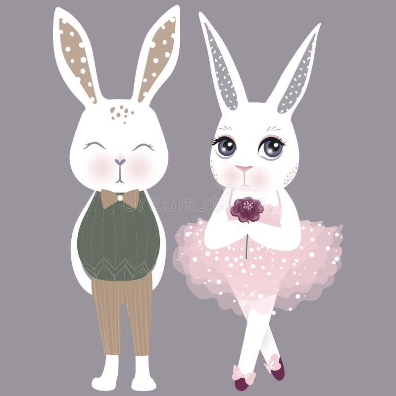 Coelhos bonitos dos pares do vetor Menina e menino Illustrat feliz da Páscoa ilustração royalty free