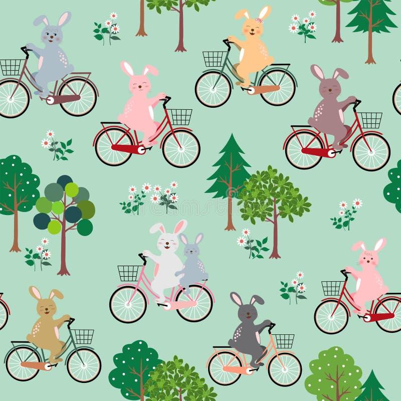 Coelhos bonitos o grupo com a bicicleta feliz no teste padrão sem emenda do jardim para o produto, a forma, a tela, a matéria têx ilustração do vetor