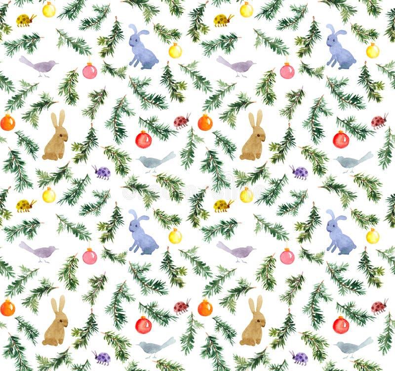Coelhos bonitos, pássaros, árvore de Natal, quinquilharias Teste padrão sem emenda watercolor ilustração do vetor