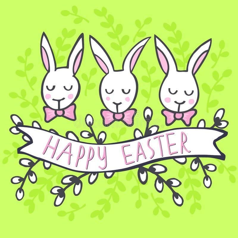 Coelhos brancos com o cartão de Páscoa feliz dos desejos no verde ilustração stock