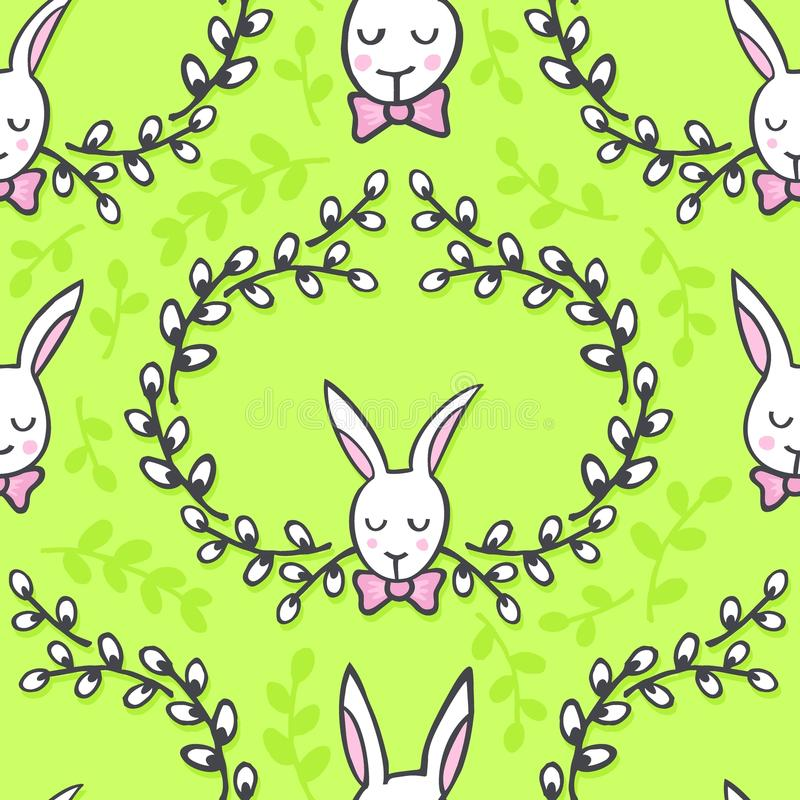 Coelhos brancos com teste padrão sem emenda da Páscoa feliz dos desejos no verde ilustração stock