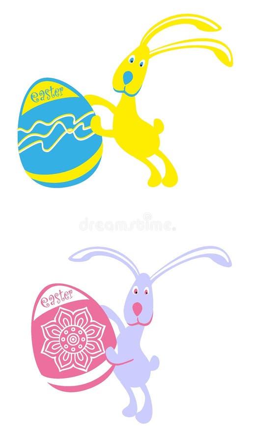 Coelhos de easter da imagem do vetor com ovos coloridos imagens de stock royalty free